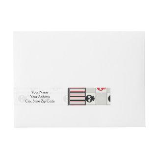 Etiquetas Para Envelope Teste padrão preto e vermelho dos crânios com