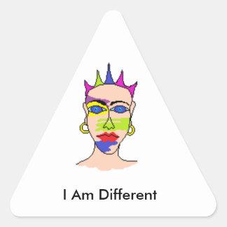 """Etiquetas para pessoas incomuns """"eu sou diferente adesivo triangular"""