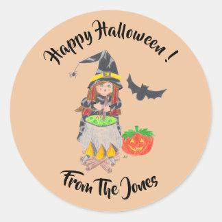 Adesivo Redondo Etiquetas personalizadas do Dia das Bruxas bruxa