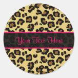 Etiquetas personalizadas do leopardo impressão cor adesivo redondo