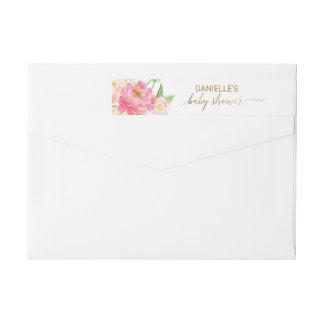 Etiquetas Pêssego e chá de fraldas cor-de-rosa das flores da