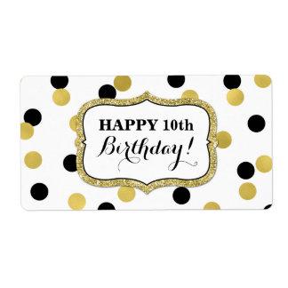 Etiquetas pretas brancas do aniversário dos