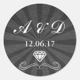 Etiquetas pretas & brancas do diamante rústico do adesivo