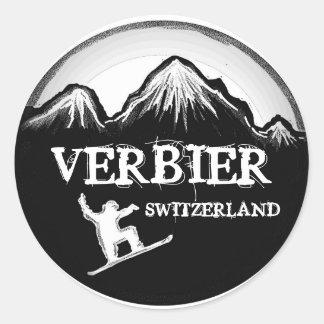 Etiquetas pretas brancas do snowboard da suiça de adesivo
