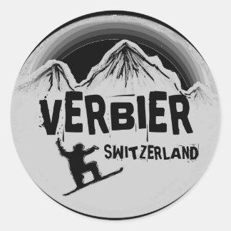 Etiquetas pretas brancas do snowboard da suiça de adesivo em formato redondo