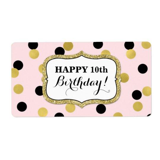 Etiquetas pretas cor-de-rosa do aniversário dos