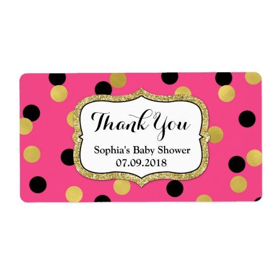 Etiquetas pretas cor-de-rosa do chá de fraldas dos etiqueta de frete