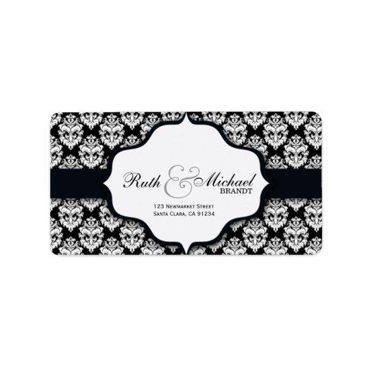 Etiquetas pretas do casamento tema damasco etiqueta de endereço