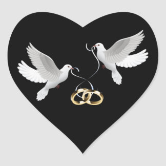 Etiquetas pretas do coração das pombas do