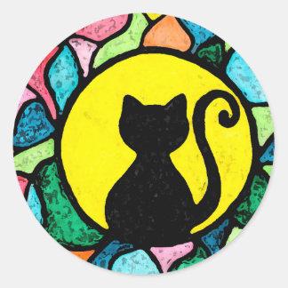 Etiquetas pretas do gatinho do vitral adesivo