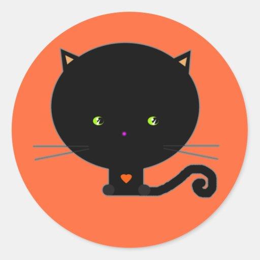 Etiquetas pretas do gato do Dia das Bruxas Adesivos Redondos