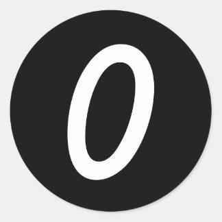 Etiquetas pretas redondas pequenas de 0 números