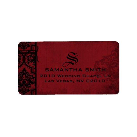 Etiquetas pretas vermelhas góticos do casamento etiqueta de endereço