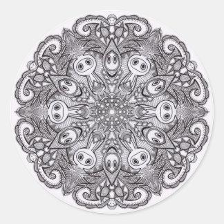 Etiquetas preto e branco da mandala adesivo