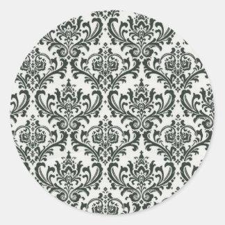 Etiquetas preto e branco do damasco adesivo