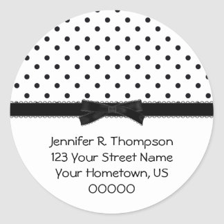 Etiquetas preto e branco do dot address da polca adesivo