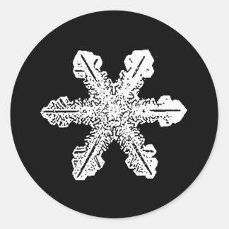 Etiquetas preto e branco do floco de neve adesivo