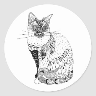 Etiquetas preto e branco do gato