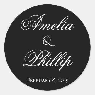 Etiquetas preto e branco elegantes do casamento
