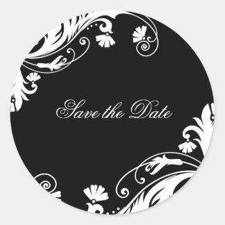 Etiquetas preto e branco elegantes do casamento adesivo