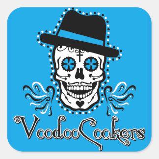 Etiquetas quadradas azuis do fogão do VooDoo Adesivo Quadrado