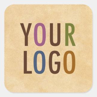 """Etiquetas quadradas com logotipo 1,5"""" da empresa"""