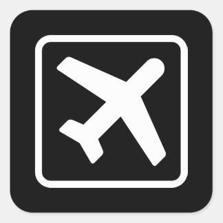 Etiquetas quadradas da aviação do ícone do avião adesivo quadrado