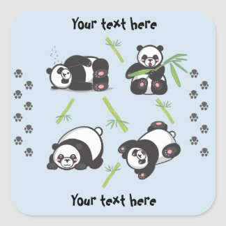 Etiquetas quadradas das pandas de Kawaii