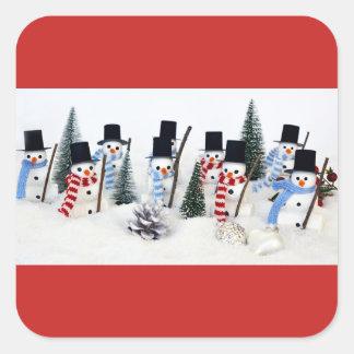 Etiquetas quadradas lustrosas da reunião do Natal