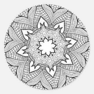 Etiquetas redondas abstratas preto e branco da