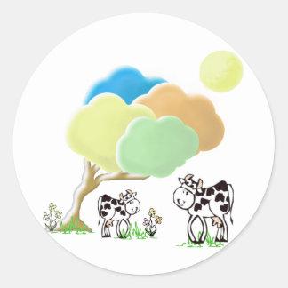 Etiquetas redondas da vaca e da vitela do adesivo em formato redondo