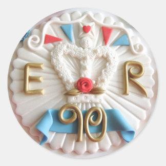 Etiquetas redondas do aniversário do 90 da rainha