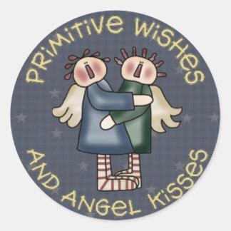 Etiquetas redondas do anjo do país de Primive