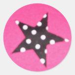 Etiquetas redondas do design da estrela do rosa adesivos em formato redondos