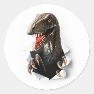 Etiquetas redondas do dinossauro do Velociraptor