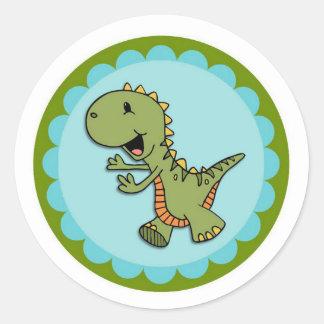 Etiquetas redondas do dinossauro verde da dança adesivos em formato redondos