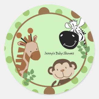 Etiquetas redondas do favor - animais da aventura adesivos redondos