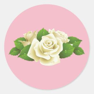 Etiquetas redondas do rosa cor-de-rosa do buquê