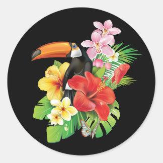 Etiquetas redondas tropicais de Toucan