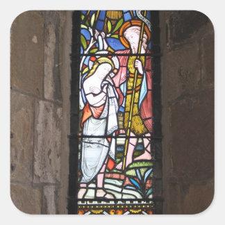 Etiquetas religiosas da janela do vitral adesivos quadrados