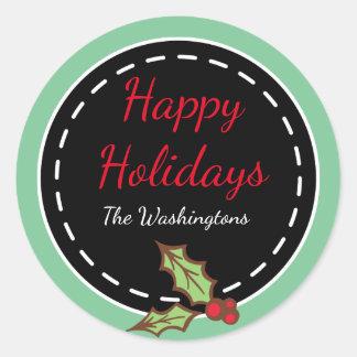 Etiquetas retros do feriado do azevinho do Natal Adesivo