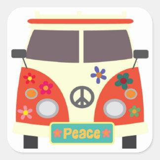 Etiquetas retros do ônibus do Hippie