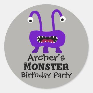 Etiquetas roxas da festa de aniversário do monstro