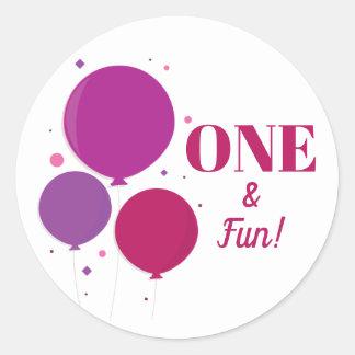 Etiquetas roxas do aniversário | um e do