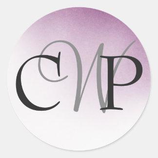 Etiquetas roxas do monograma do casamento de Ombre