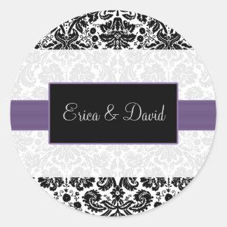 etiquetas roxas do monograma do casamento do adesivo