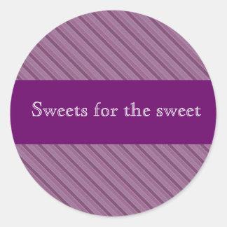 Etiquetas roxas personalizadas da listra para lata adesivos em formato redondos