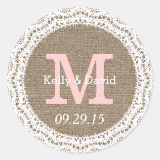 Etiquetas rústicas do favor do casamento do laço adesivo redondo