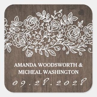 Etiquetas rústicas do favor do casamento do laço e adesivo quadrado