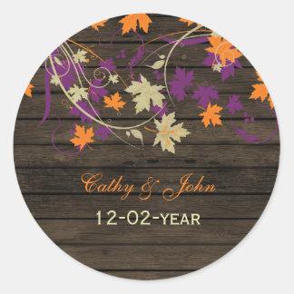 Etiquetas rústicas do favor do casamento outono da